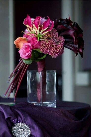 GORGEOUS & Highly Unique Wedding Bouquet Arranged With: Fuchsia, Coral, & Lavender Roses, Fuchsia Coxcomb (Celosia), Fuchsia/Chartreuse Gloriosa Lilies, & Dark Purple Calla Lilies