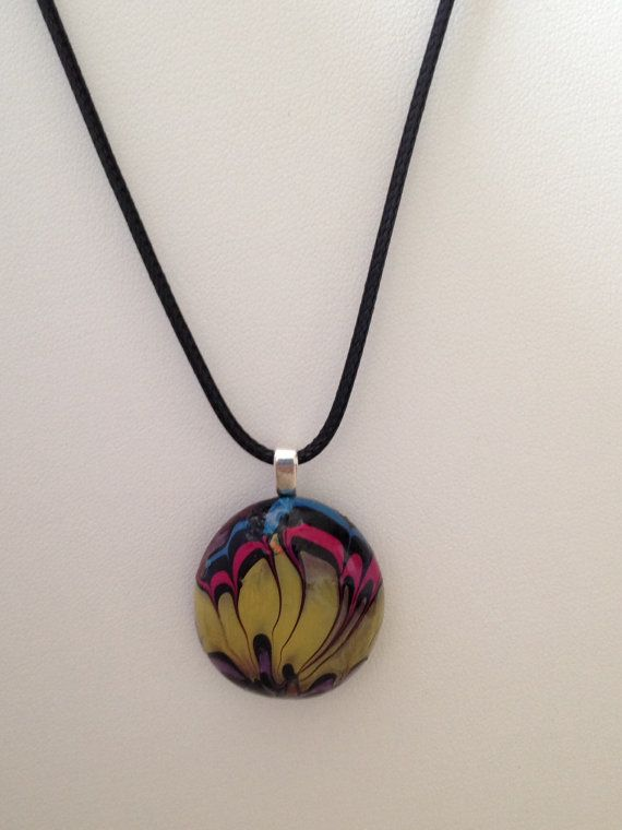Water marbled glass pendant necklace.