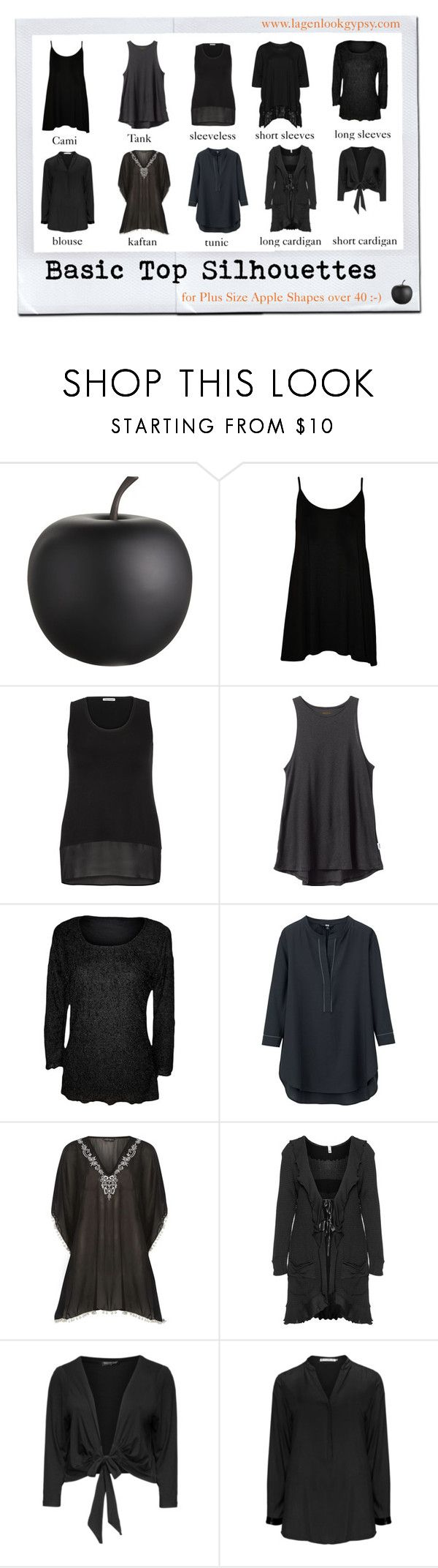"""""""Basic Top Silhouettes for Plus Sizes over 40"""" by mindeja ❤ liked on Polyvore featuring CB2, WearAll, maurices, RVCA, Uniqlo, Dorothy Perkins, Manon Baptiste, Head Over Heels, Studio and Vincenzo Allocca"""