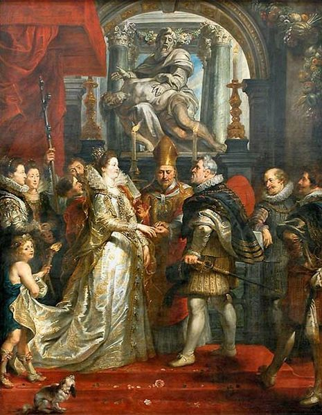 1600.Marriage of Maria de'Medici and Henri IV.(1622-25), Rubens depicts the proxy marriage ceremony of the Florentine princess Marie de'Medici to the King of France,Henry IV which took place in the cathedral of Florence on Oct.5,1600.Cardinal Peitro Aldobrandini presides over the ritual, however since Henry IV was too busy to attend his own wedding,the bride's uncle,the Grand Duke Ferdinand of Tuscany stood in his place and is pictured here slipping a ring on his niece's finger.Louvre Museum