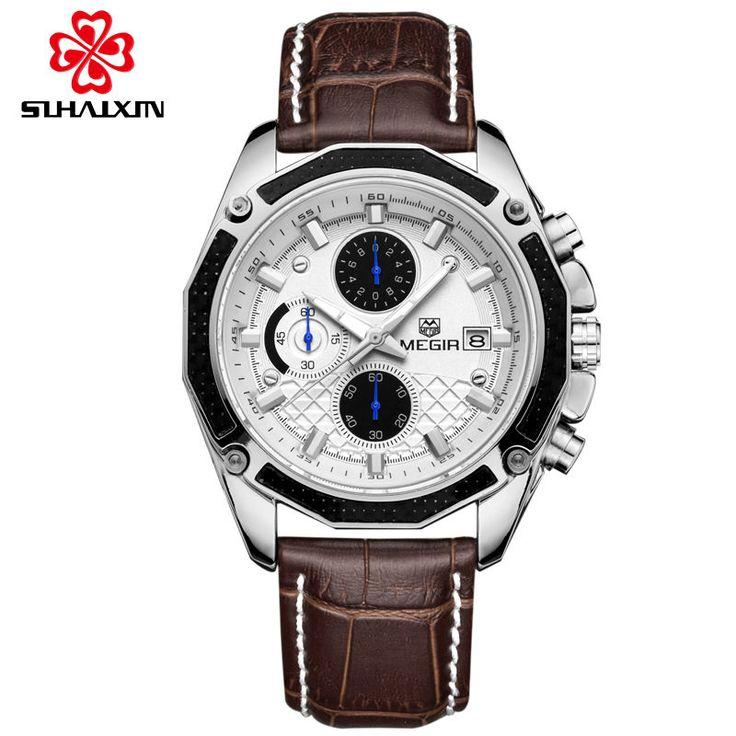 MEGIR Relógios de quartzo Luxo Black Leather Fashion Watch para Homens Casual Brown Três-olhos Chronograph Sport Watch Wrist Watch
