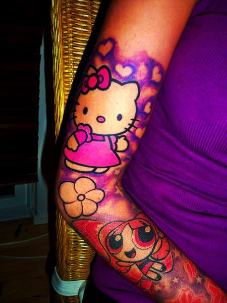 I love this tat.. My girls WERE the powerpuff girls growing up and I <3 Hello Kitty!