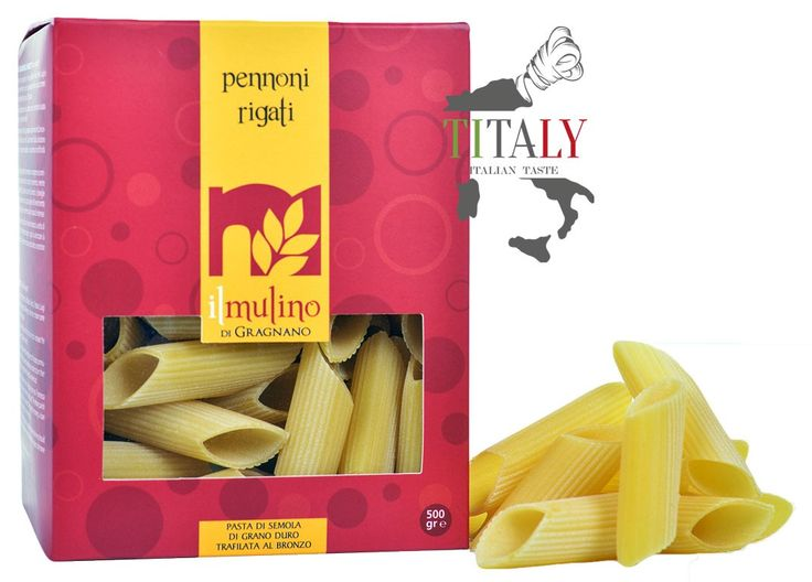 PENNONI RIGATI GRAGNANO PASTA PGI 500gr - IL MULINO DI GRAGNANO  The Pennoni Rigati (streaked) pasta Gragnano, typical traditional pasta of Naples, are indicated both in the recipes of pasta with tomato-based sauces or rich meat sauce sauce, but also in the creation of recipes based on seafood.