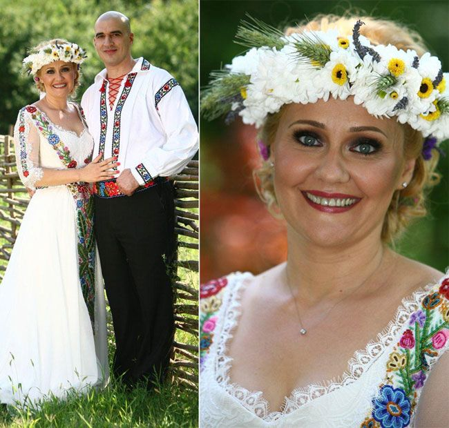Happy bride Elena Lasconi, in a wedding dress inspired by the Romanian traditional costume. LOVELY!