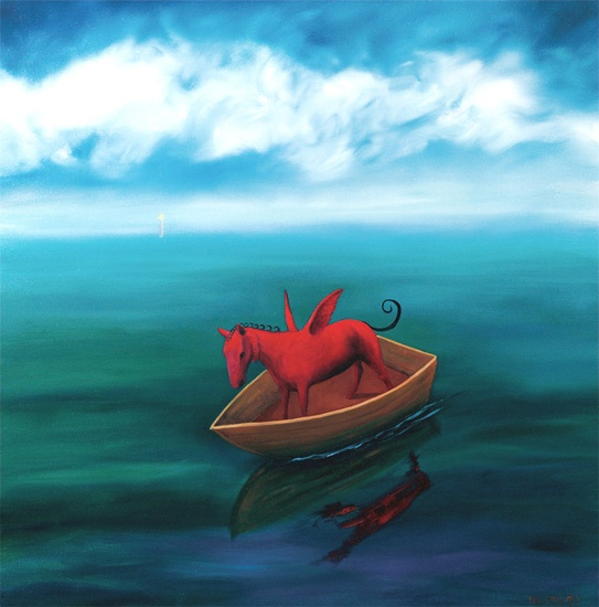 Red horse in a boat by Helen Norton