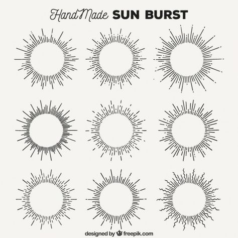 hand made sun burst collection free vector tatoo. Black Bedroom Furniture Sets. Home Design Ideas