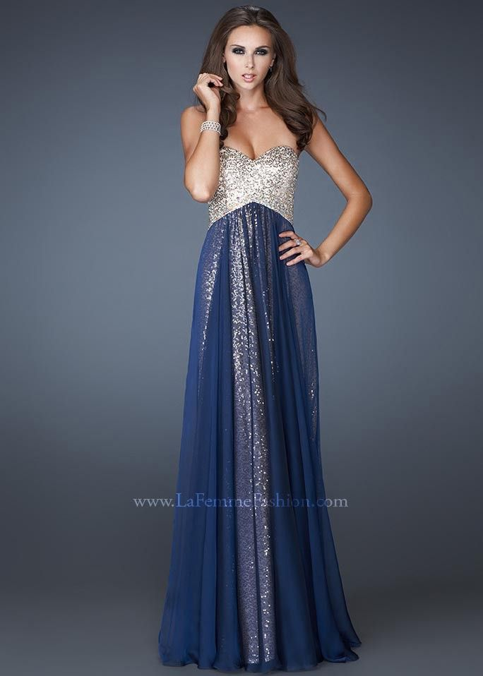 Dark blue and gold prom dress