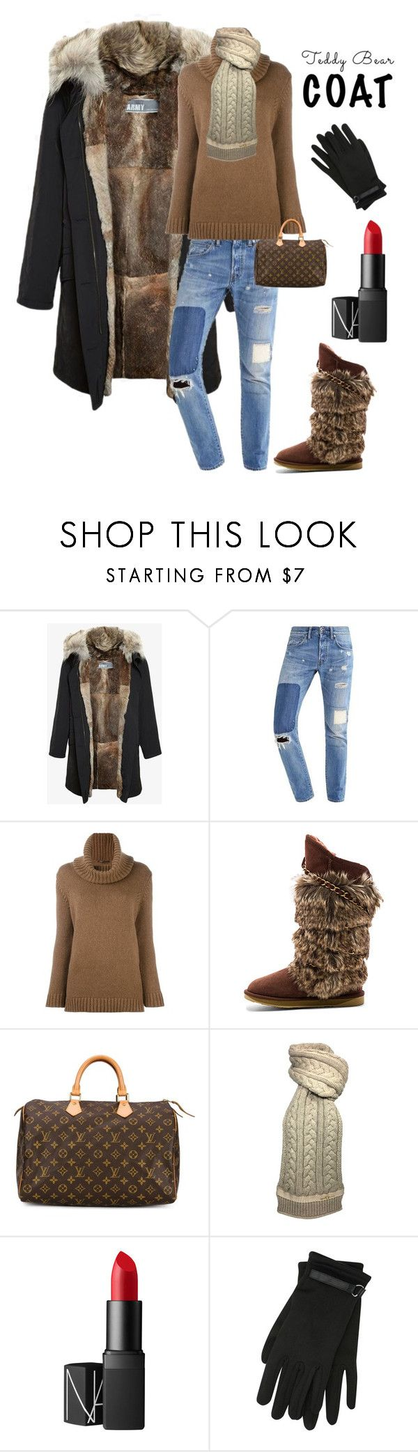 """Untitled #3949"" by kotnourka ❤ liked on Polyvore featuring Army Fur by Yves Salomon, Agnona, Australia Luxe Collective, Louis Vuitton, NARS Cosmetics and M&Co"