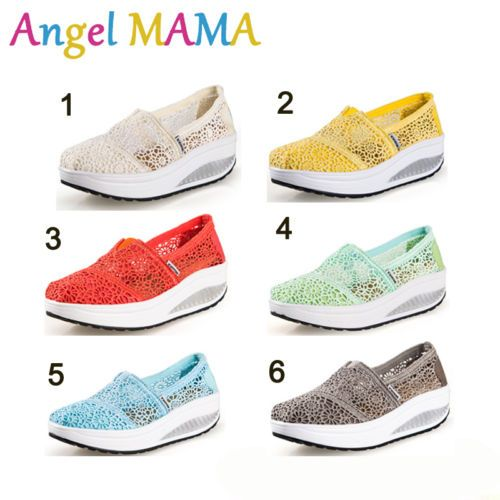 Ch Women Breathable Wedge Athletic Sneaker Fitnees Walking Sport Lace Up Shoes