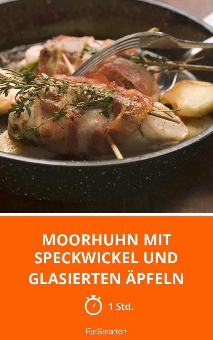 Moorhuhn mit Speckwickel und glasierten Äpfeln - smarter - Zeit: 1 Std. | eatsmarter.de