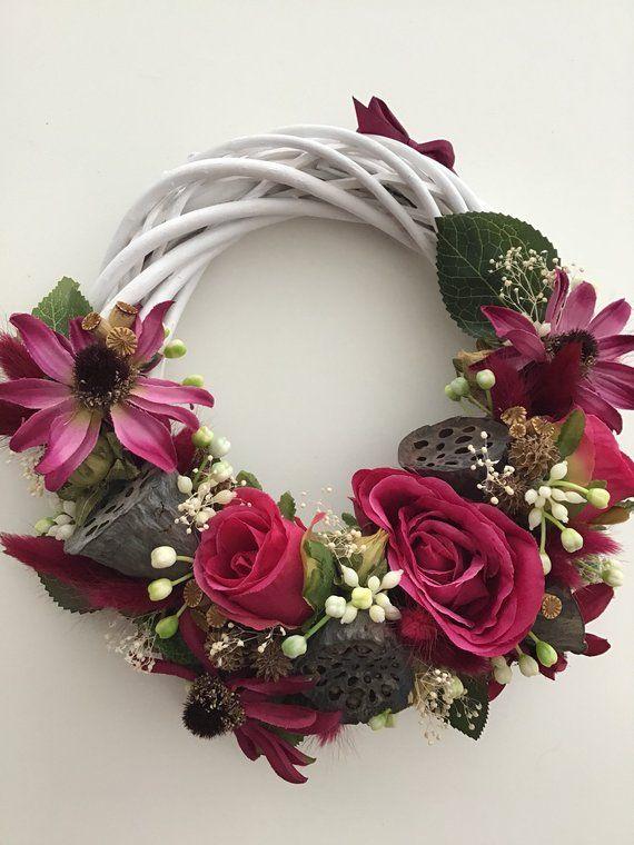Easter Wreath Flower Wreath Faux Flowers Fabric Flower Wreath Flower Ring Everlasting Flowers