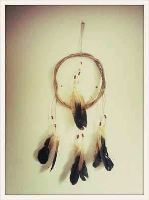 Brown Feather Hand made South American dream catcher. Keeps the bad dreams at the door.