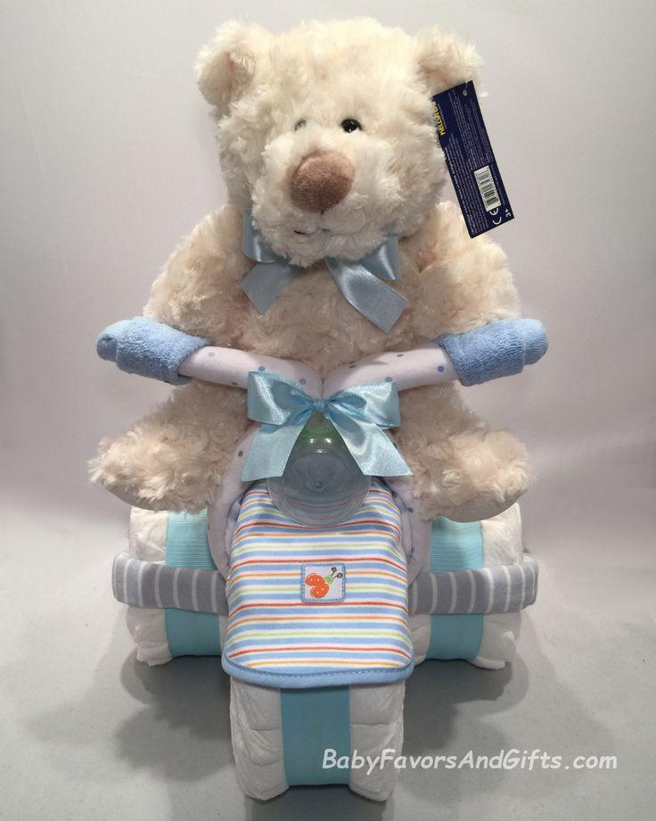 Baby Blue Tricycle Diaper Cake, BabyFavorsAndGifts.com