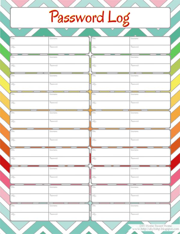 Home Management Binder - Password Log. Includes link to a lot for free organizing printables