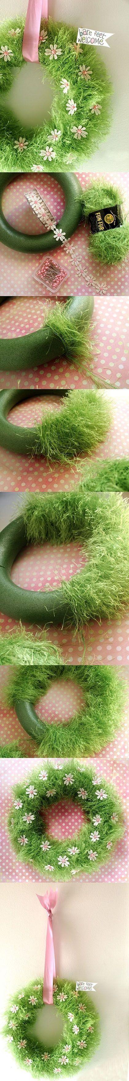 "Adorable ""Bare Feet Welcome"" DIY Spring Wreath Idea via Lots DIY"