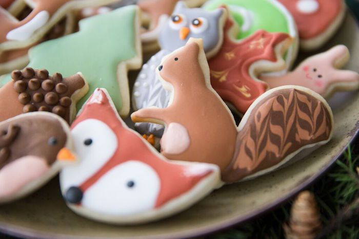 Woodland themed Sugar Cookies from a Woodland Baby Shower via Kara's Party Ideas | KarasPartyIdeas.com (21)