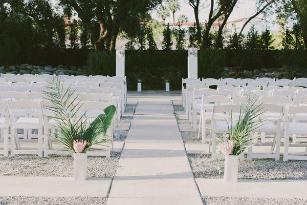 ceremony setup - photo by Laura Goldenberger http://ruffledblog.com/palm-springs-wedding-for-a-creative-bride-and-groom