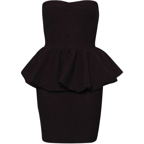 Paprika Textured Jersey Bandeau Peplum Dress ($13) ❤ liked on Polyvore featuring dresses, vestidos, black dresses, robe, coral, fitted jersey dress, bandeau summer dress, fitted dresses, sweetheart cocktail dress and peplum cocktail dress