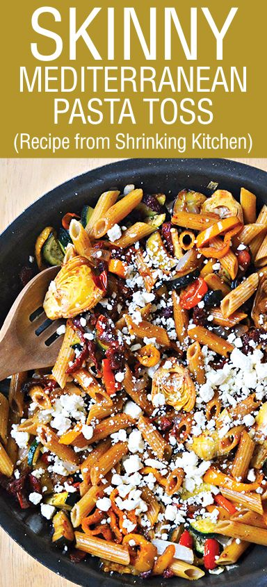 Skinny Mediterranean Pasta Toss! This recipe is from Shrining Kitchen, you will fall in love with it! Great flavor combinations, this will totally be a family favorite