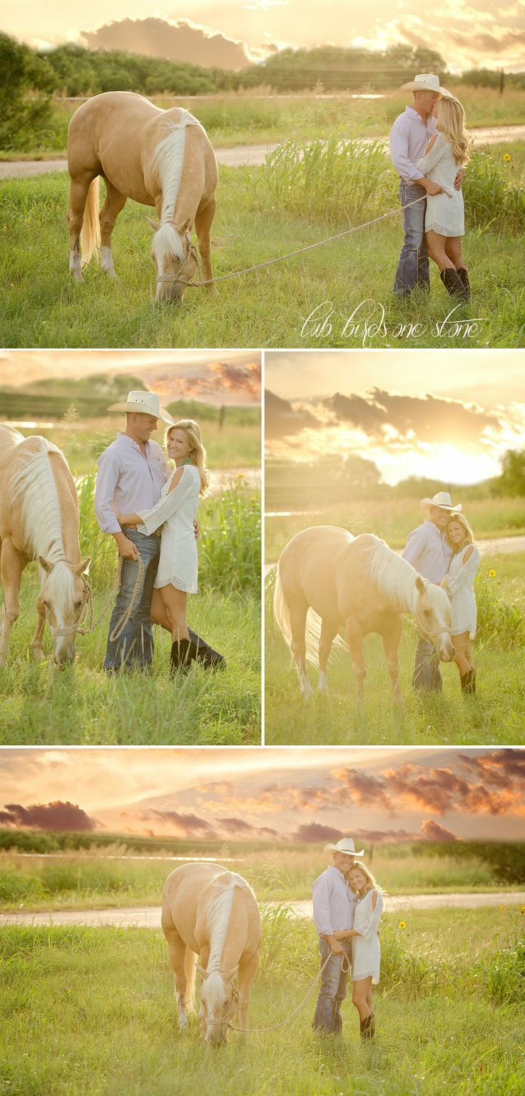 Engagement pictures with a horse | sunset engagements in a field | rustic country engagement pictures | barn horse engagement pictures | Two Birds One Stone Wedding {Abilene, TX Wedding Photographer}