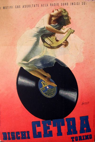 By Gino Boccasile, 1 9 4 0, Dischi Cetra. (The success that you hear on the radio are engraved: Dischi Cetra).