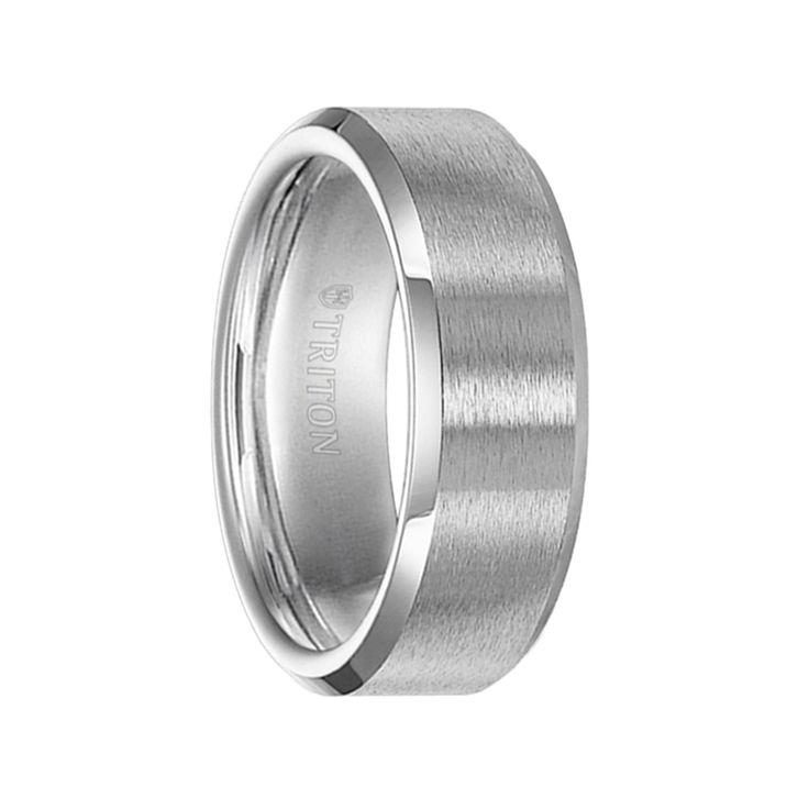 Triton Rings - OLIVER Brush Finish Cobalt Wedding Band with Polished Bevels - 8 mm