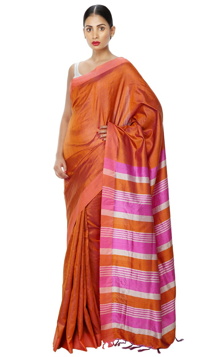 - CORPORATE CULTURE - Corporate Day Wear Bhagalpur Tussar Silk Two-Tone Orange and Pink Saree.  Now on SALE at 15% OFF. Shop Now!