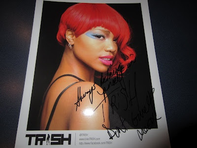 An autographed gift from @Trish for me @itsbrookesworld while on the set of @reel2runway Thank you oxoxox