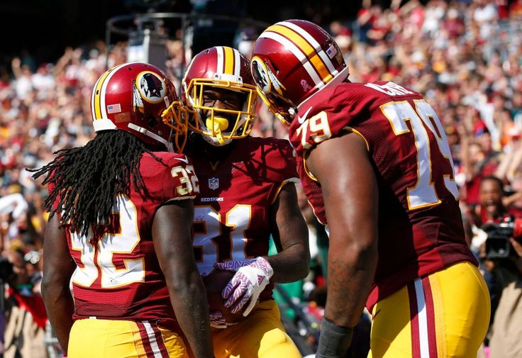Eagles vs. Redskins:     October 16, 2016   -  27-20, Redskins  -     Washington Redskins running back Matt Jones, center, celebrates his touchdown with teammates Rob Kelley, left, and Ty Nsekhe in the first half of an NFL football game against the Philadelphia Eagles, Sunday, Oct. 16, 2016, in Landover, Md.