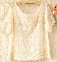 Estilo de verano de manga corta tops de encaje bordado de flores las mujeres florales blusas de encaje mori chica(China (Mainland))