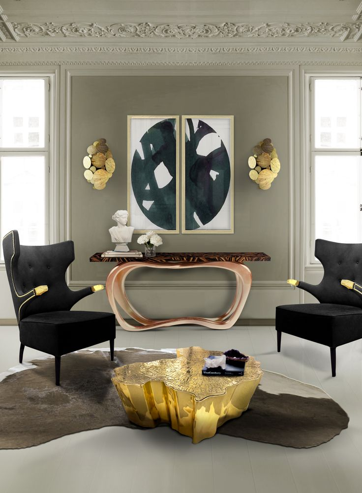 Infinity Console Table by Boca do Lobo. Console made from wood with a top made through ebony leaf. Its base is lined with copper leaf. www.bocadolobo.com