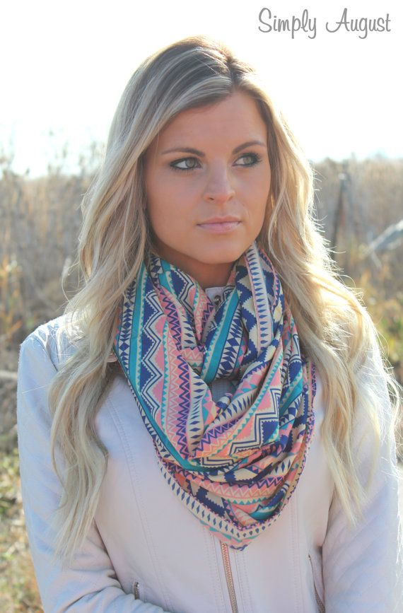Aztec Tribal Geometric Print Scarf Navy and by SIMPLYAUGUSTxo