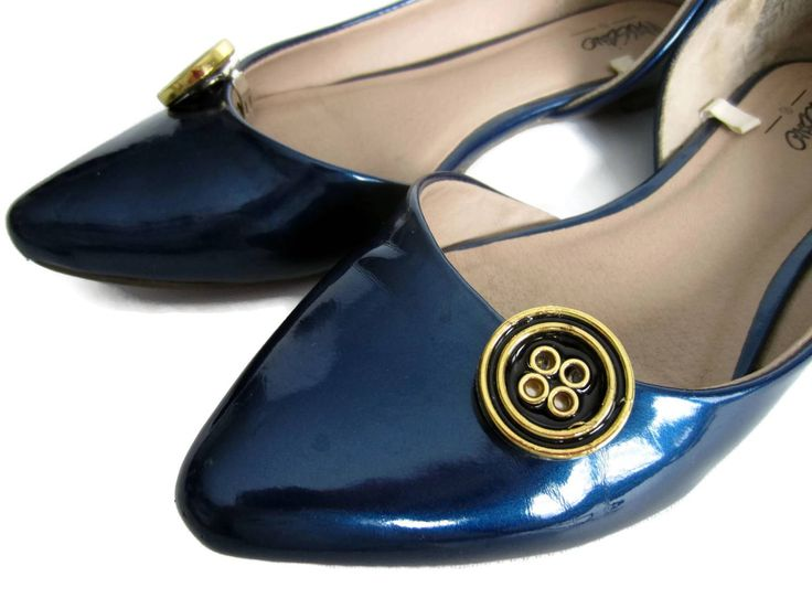 Small Black Shoe Buttons, Classy Black Shoe Clips, Gold Shoe Clips, Classic Shoe Clips, Gold Button Clip On Shoes, Navy Button Shoe Clips by ShoesNChampagne on Etsy