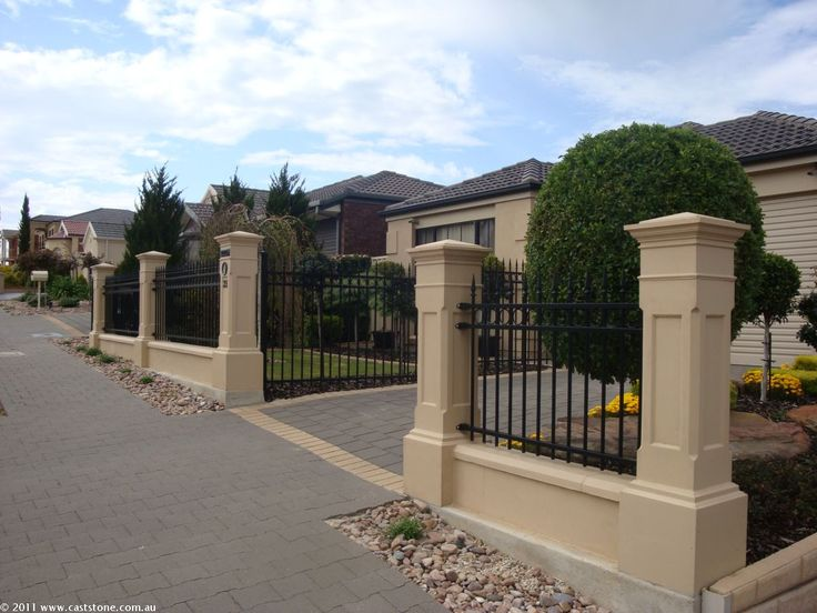 24 Best Caststone Style Fences Images On Pinterest Fence Gates - brick wall designs with palisade fencing