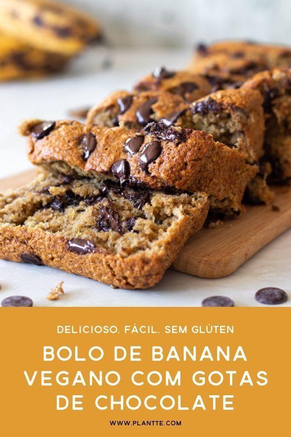 Bolo De Banana Com Gotas De Chocolate Vegano Sem Gluten Receita Com Imagens Receitas Veganas Bolo De Banana Vegano Sobremesas Veganas