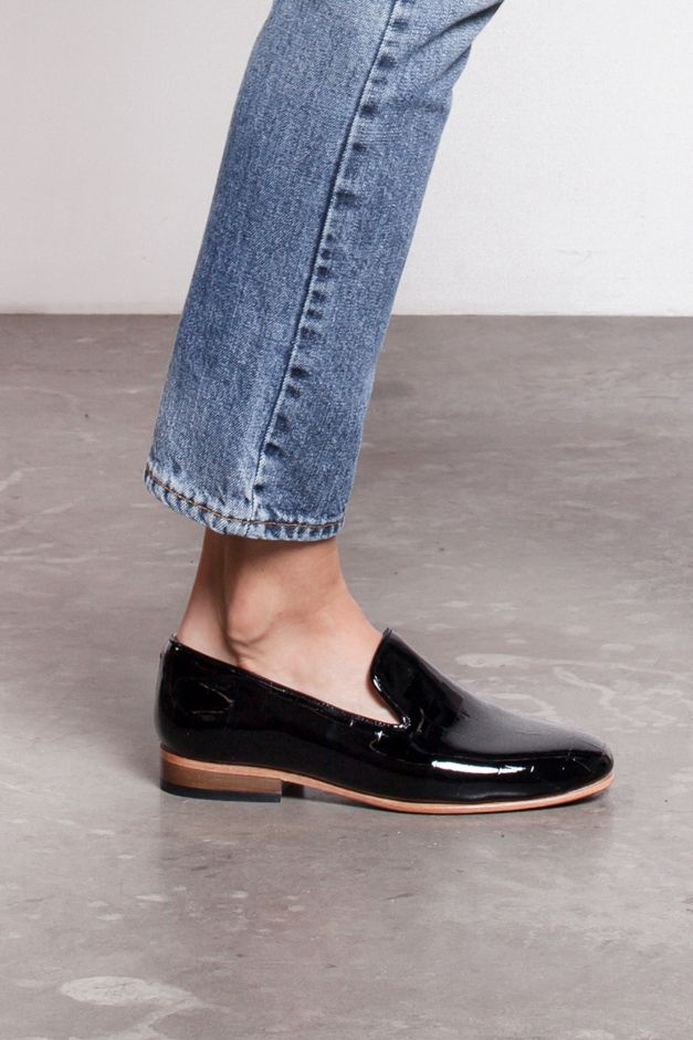 True blue denim and patent leather shoe combo | See more about Loafers, Shoes and Leather.