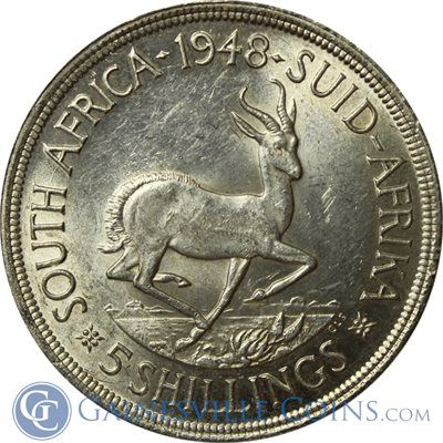 South African 5 Shilling Silver Coin.   We love coins at Renaissance Fine Jewelry in Vermont or at www.vermontjewel.com. Contact us at sales@vermontjewel.com. Please support and be a member of the American Numismatic Association.