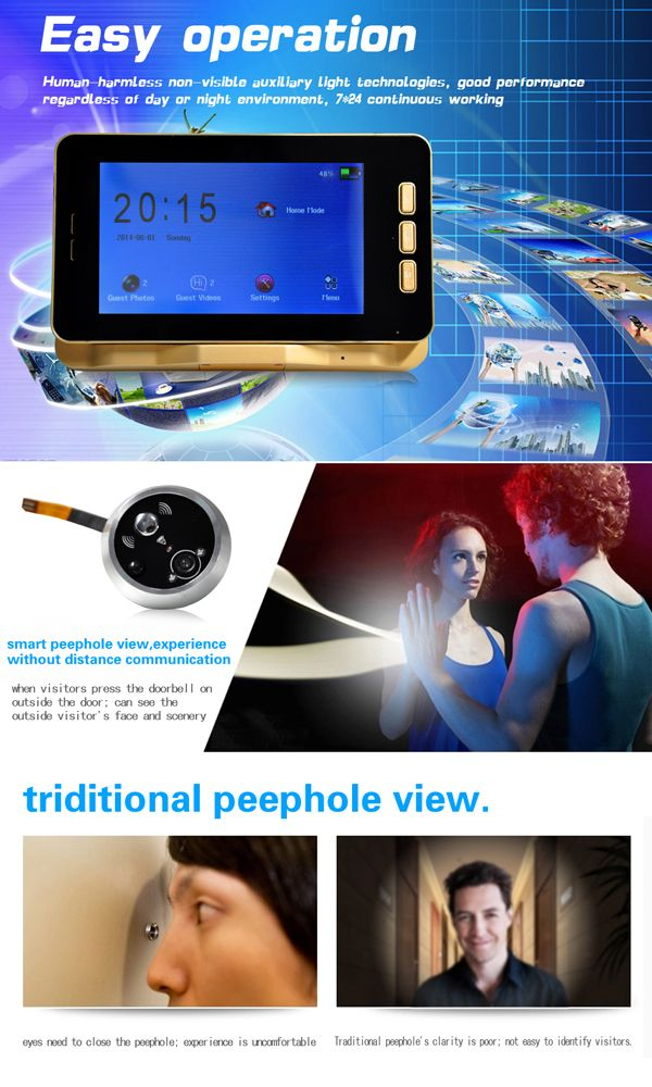 """Danmini YB50HD-M 5.0"""" Color TFT Touch Screen Doorbell w/ Night Vision Motion Detection Peephole - From 119,= for Euro 75,85"""