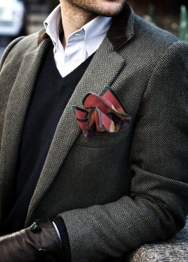 This fall's groom fashion brings an end to plain pocket squares. Choose something patterned, vibrant, and attention grabbing. Remember that accessories are everything.