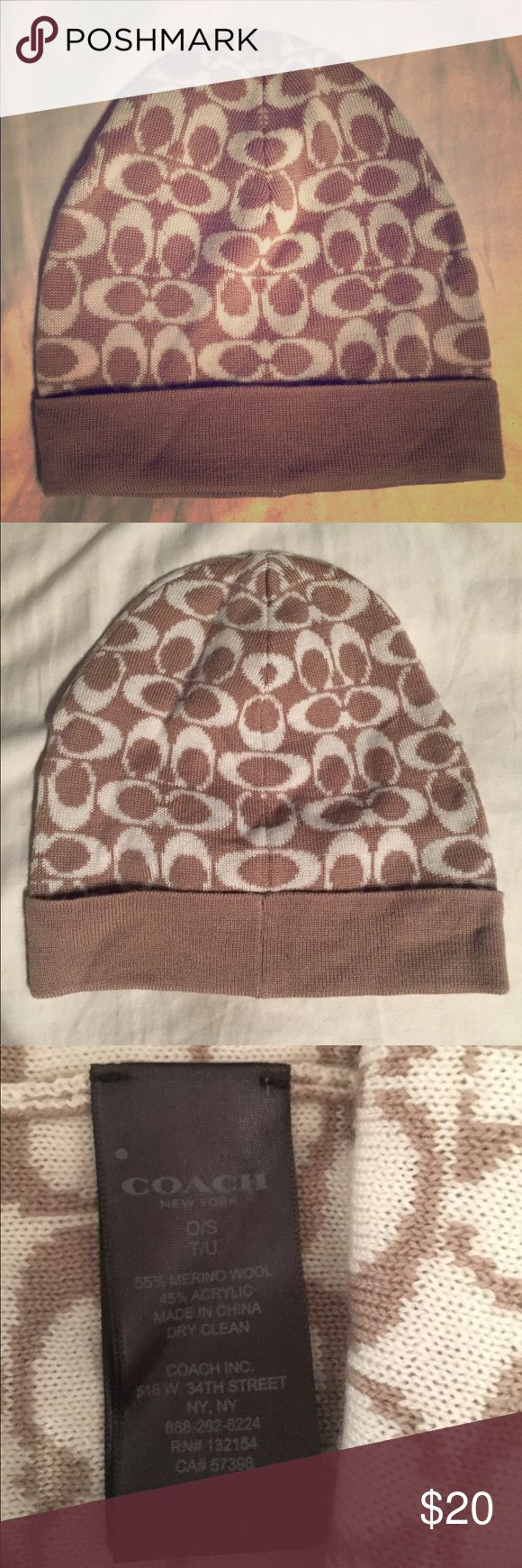 Authentic Knit Coach Hat Vintage beige Coach hat with signature white C logo. Never worn! Coach Accessories Hats