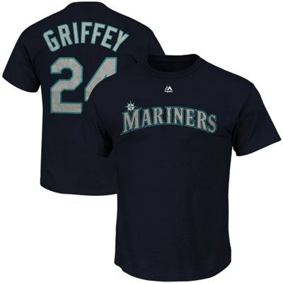 Ken Griffey Jr. Seattle Mariners Majestic Cooperstown Player Name & Number T-Shirt - Navy Blue
