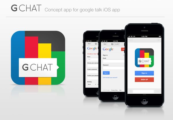 Gchat concept iOS app by Tim Green, via Behance