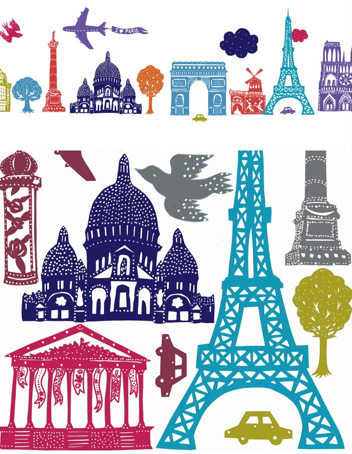 paper illustrations of Paris icons and buildings for stickers for Nouvelles Images by Mathilde Nivet http://www.nouvellesimages.com/