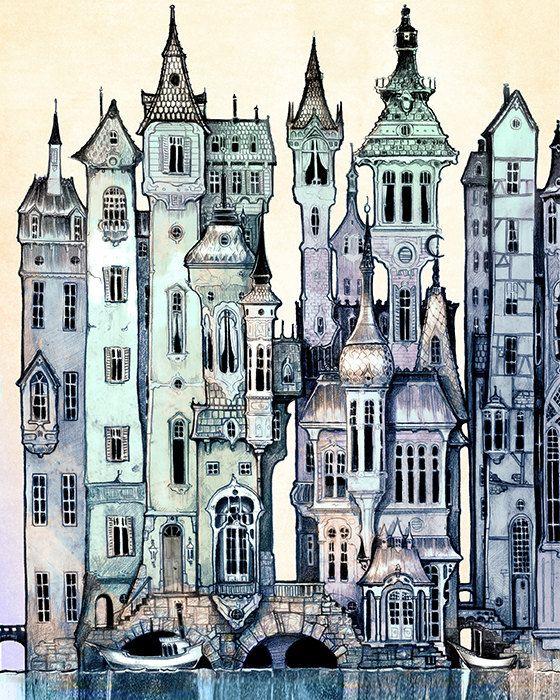 Dawn - viktorianischen Stadt-KUNSTDRUCK - Giclée Kunstdruck von Fantasy Wand - pink - grün - lila - Märchen-Kunst durch das filigrane auf Etsy, 5,95€
