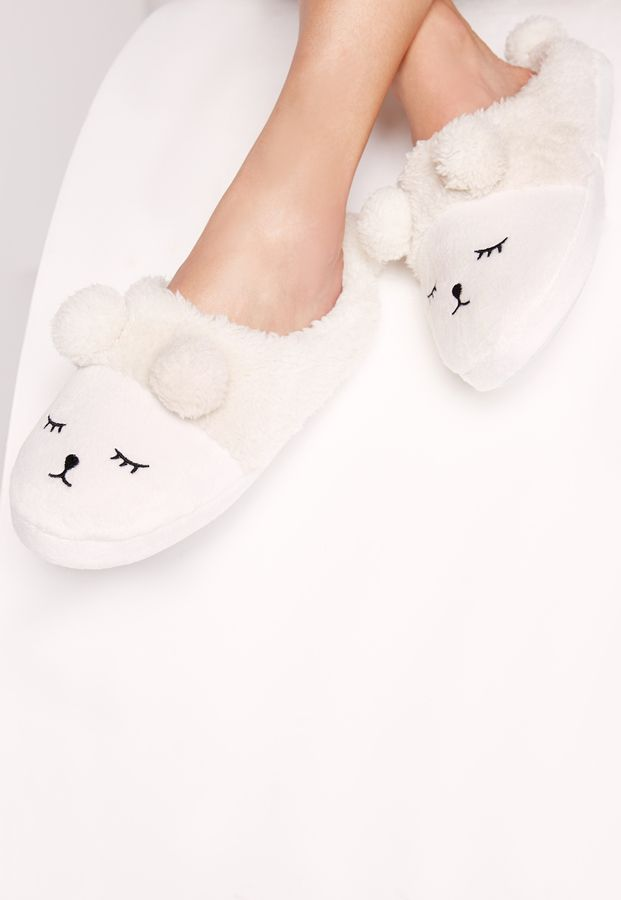 Bunny Pom Pom Slippers Cream