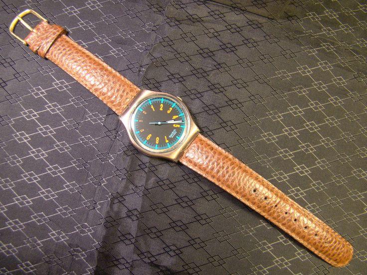 Men's SWATCH ICEBREAKER Leather Band Copper Orange Number Watch 1989 GX113 Runs in Jewelry & Watches, Watches, Parts & Accessories, Wristwatches | eBay