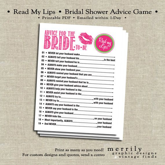 advice game for bridal shower