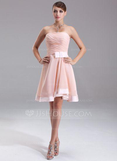 A-Line/Princess Strapless Knee-Length Chiffon Charmeuse Homecoming Dress With Ruffle Bow(s) (022009504)