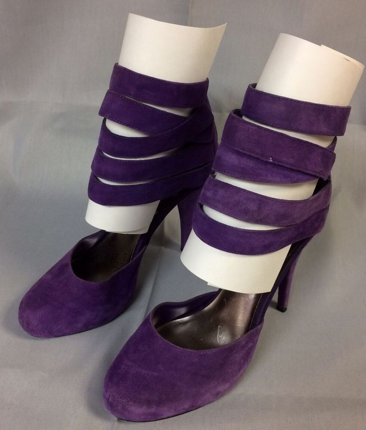 Steve Madden Tayla Leather Bright Purple Strappy High Heels Pumps Sz 8.5 8 1/2 M #SteveMadden #Strappy