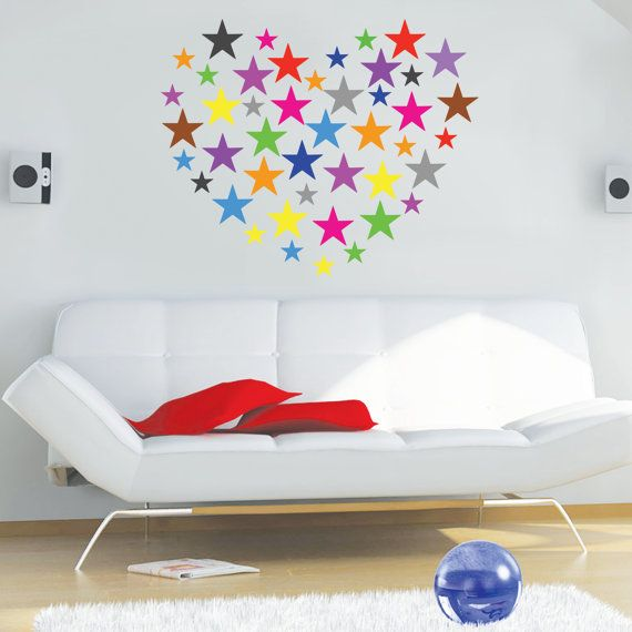 Wall Decals STARS, Set Of 70 Stars Vinyl Stickers, Nursery Stars Pattern,  Bedroom Nursery Playroom Decor, Rainbow Stars Stickers